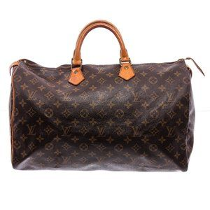 Louis Vuitton Monogram Canvas Leather Speedy 40 cm